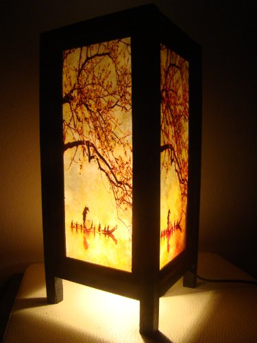 Thai Vintage Handmade Asian Oriental Handcraft China Fisherman Red Sakura Cherry Blossom Tree Branch Bedside Table Lights or Floor Wood Paper Lamp Home Decor Bedroom Decoration Modern Design from Thailand