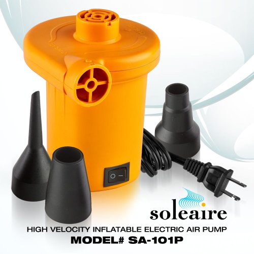 Soleaire SA-101P Turbo Electric Inflator Inflatable Air Pump for Bed, Mattress and Water Inflatables, Tangerine