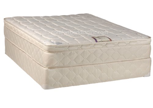 Comfort Bedding of USA 60 by 80-Inch Quilted Euro Top One Sided Mattress and Box Spring, Queen