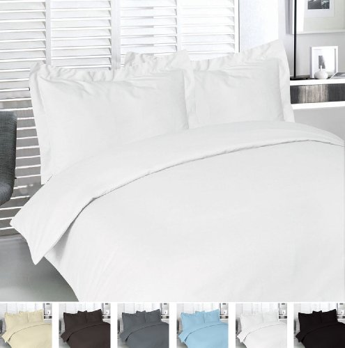 Utopia Bedding Queen 3pc Duvet Set 100% Cotton – White