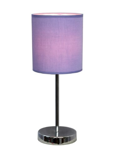 Simple Designs LT2007-PRP Basic Table Lamp with Purple Shade, Chrome