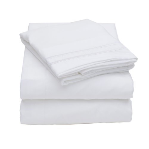1500 Thread Count 4pc Bed Sheet Set Egyptian Quality Deep Pocket – All Size, 12 Colors – Queen, White