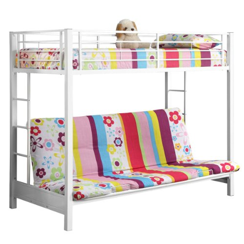 Metal Twin Over Futon Bunk Bed , White