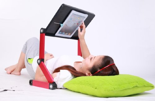 iCraze fOr iPad – Adjustable Vented Laid-back Tablet & Laptop Table Desk Portable Bed Tray Book Stand Multifunctional & Ergonomics Design up to 17″ – Compatible with All iPad Versions (Black & Red)