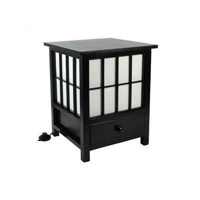 Oriental Furniture Eclectic Unusual Simple, 19-Inch Hokkaido End Table Nightstand Japanese Lantern Floor Lamp, BLACK