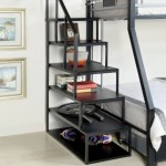 Furniture of America Metal Bunk Bed Side Ladder Bookshelf, Silver and Black Finish