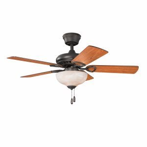 Kichler Lighting 337014OZ Sutter Place Select 42-Inch 3-Light Ceiling Fan, Olde Bronze Finish with Reversible Blades and Umber Alabaster Glass Light Kit