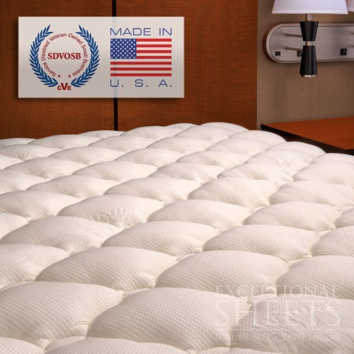 Extra Plush Bamboo Fitted Mattress Topper, King