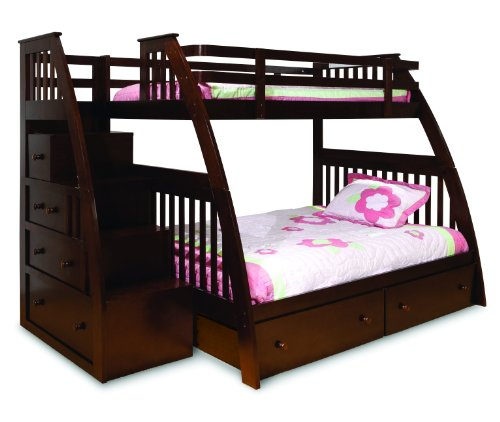 Canwood Ridgeline Bunk Bed with Built-In Stairs Drawers, Twin Over Full, Espresso