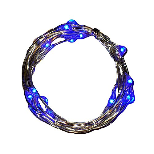BLUE Micro LED Lights (20) – Led String Light Battery Operated – Blue Starry Lights on Ultra-thin Copper Wire Silver Coated (7ft) – Strings of Light for Blue Decorations. Bedroom Fairy Lights. Indoors & Outdoors Garlands for Backyard. Popular Strips for Bicycles. Party Leds Wire Lights 100% Guaranteed