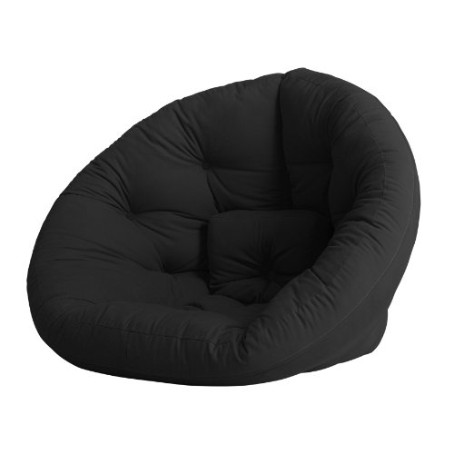 Fresh Futon Nest Convertible Futon Chair/Bed, Black Mattress