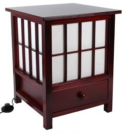 Oriental Furniture Unique Lighting Floor Lamp, 19-Inch Hokkaido End Table Rice Paper Lantern, ROSEWOOD