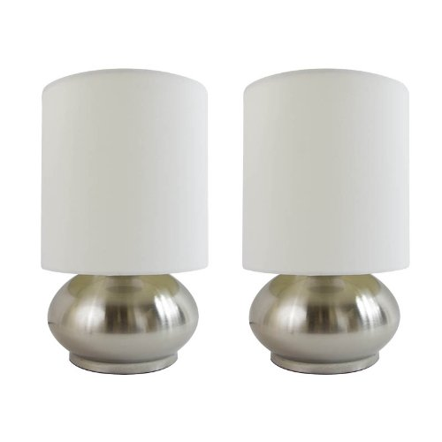 Simple Designs LT2016-IVY-2PK Mini Touch Lamp with Shiny Silver Metal base and Ivory Shade, 2-Pack