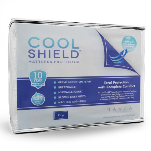 Cool Shield No Allergy Waterproof Mattress Protector – Breathable Terry Cover Protects Against Dust Mites, Allergens, Bacteria, Mold and Fluids – See Reviews – Machine Washable Mattress Protector – Best 10-yr Guarantee – Size: King (78 in x 80 in)