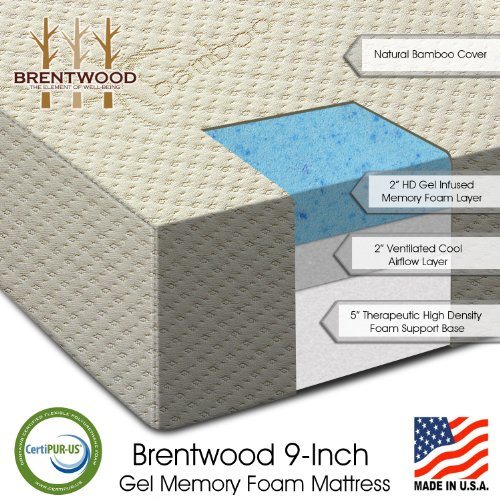 Brentwood 9″ Gel Infused HD Memory Foam Mattress – 100% Made in USA – CertiPur Foam – 25-Year Warranty, Triple Layer, Natural Bamboo Cover, Queen Size 60 x 80 x 9