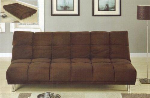 Chocolate plush microfiber fabric upholstered futon sofa bed with metal legs