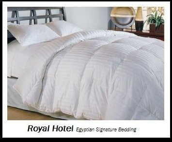 Royal Hotel's Queen Size Goose-Down-Comforter 650-Fill-Power 100 % Egyptian-Cotton Shell 300TC – Stripe White