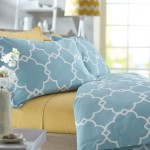 Pinzon 300-Thread-Count 100-Percent Cotton Lattice Duvet Cover Set, Full/Queen, Spa Blue