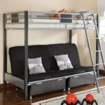 Cletis III Twin over Futon Base Two Toned Silver and Gun Metal Finish Bunk Bed with Moveable Ladder.