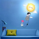 TPCROMEER DIY 3D Wallpaper Novelty Cartoon Wall Stickers Home Room Decor Decoration LED Night Light Lamp for Kids' Bedroom (Cat's Journey)