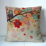 """Decorbox Cotton Linen Square Decorative Throw Pillow Case Cushion Cover Owls with Birdcage 18 """"X18 """""""