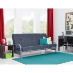Metal Arm Futon with 6″ Mattress in Gray, converts instantly to full-size bed