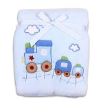 Spasilk Baby-Girls Newborn Extra Thick Plush Blanket with Satin Trim, Blue Train, 30 Inchx40 Inch