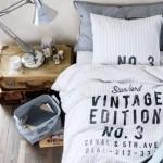 French Vintage Cotton Duvet Quilt Cover 2pc set Twin Single 100% Cotton Old Fashion Striped Gray White Turquoise (White)