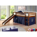 Donco Kids Donco Kids Twin Loft Tent Bed with Slide – Light Espresso, Blue Tent, Wood, Twin Loft Bed