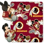 NFL Washington Redskins Mickey Mouse Pillow with Fleece Throw Blanket Set