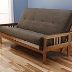 Andover Full Size Futon Sofa Bed, Honey Oak Wood Frame, Suede Innerspring Mattress, Olive