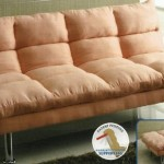 Saratoga III Contemporary Style Design Pink Finish Microfiber Pillow Top Futon Sofa with Chrome Finish Support Legs