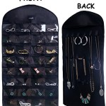 Misslo® Black Jewelry Hanging Non-woven Organizer Holder 32 Pockets 18 Hook and Loops