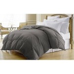 Dobby Stripe Duck Down Comforter – 400 Thread Count (King 104″x88″, Grey)