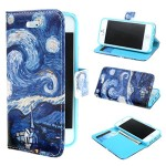 "iphone 5 5S Case , ivencase Painting Starry Night Style Design Magnetic Wallet PU Leather Stand Case Cover for Apple iphone 5 5S + One ""ivencase "" Anti-dust Plug Stopper"