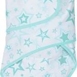 Miracle Blanket Baby Swaddle Blanket, Aqua Stars
