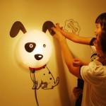 TPCROMEER DIY 3D Wallpaper Novelty Cartoon Wall Stickers Home Room Decor Decoration LED Night Light Lamp for Kids' Bedroom (Lovely Dalmatians)