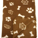 30×21 Inch Dog / Cat Fleece Blanket – Bone and Paw Print Assorted Color Pet Blankets by bogo Brands (Brown)