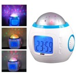 AM MARCH Children Room Sky Star Night Light Projector Lamp Bedroom Alarm Clock Music Clock