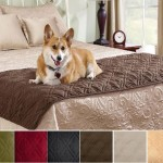 Quilted Suede Bed Protector Slip Cover for Pets Brown Color