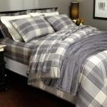 Pinzon Lightweight Cotton Flannel Duvet Cover – Full/Queen, Grey Plaid