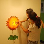 TPCROMEER DIY 3D Wallpaper Novelty Cartoon Wall Stickers Home Room Decor Decoration LED Night Light Lamp for Kids' Bedroom (Sunflower)