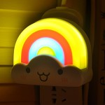 Soaiy® SY-NL03 Smiley Face and Pastel Colors Mini Rainbow Shaped Kids LED Night Light, Smart Automatic Light and Voice Control Sensor, Plug In Wall Energy Efficient, Perfect for Infant, Newborn, Baby, Kids, Children, Toddler, Boys, Girls as Sleeping Light, Guide Light, Decorative Light in Hallway, Bedroom, Bathroom, Bedside, Baby Room, Kids Room, Nursery (Multicolor)