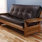 Rosemount Full Size Futon, Honey Oak Wood With Bonded Leather Innerspring Mattress, Java