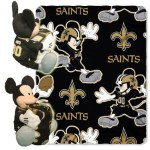 NFL New Orleans Saints Mickey Mouse Pillow with Fleece Throw Blanket Set
