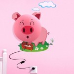 TPCROMEER DIY 3D Wallpaper Novelty Cartoon Wall Stickers Home Room Decor Decoration LED Night Light Lamp for Kids' Bedroom (Smile Pink Pig)