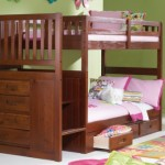 Mission Twin Over Twin Staircase Bunk Bed with 3 Drawers in Merlot Finish