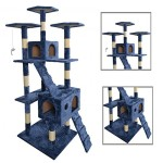 New 73″Navy Blue Cat Tree Scratcher Play House Condo Furniture Toy Bed Post Pet House 9073