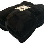 Super Soft Plush Velour Mink Borrego Blanket Throw Queen or Full Size Bed (Black)