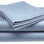 Queen Size Light Blue Classic Sateen Dobby Stripe Sheet Set